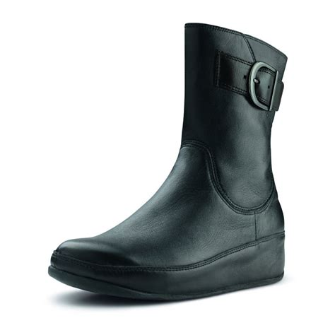 fitflop hooper black leather ankle boot fitflop from