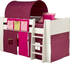 childrens pink and purple midsleeper cabin bed with tunnel