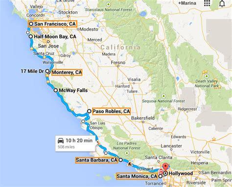 usa map los angeles san francisco roteiro de 10 dias na calif 243 rnia san francisco los angeles