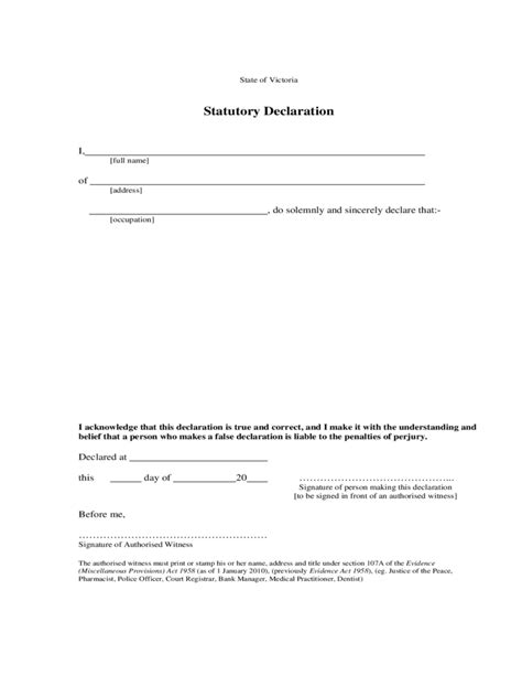 Statutory Declarations Template by Statutory Declaration Sle Form Free
