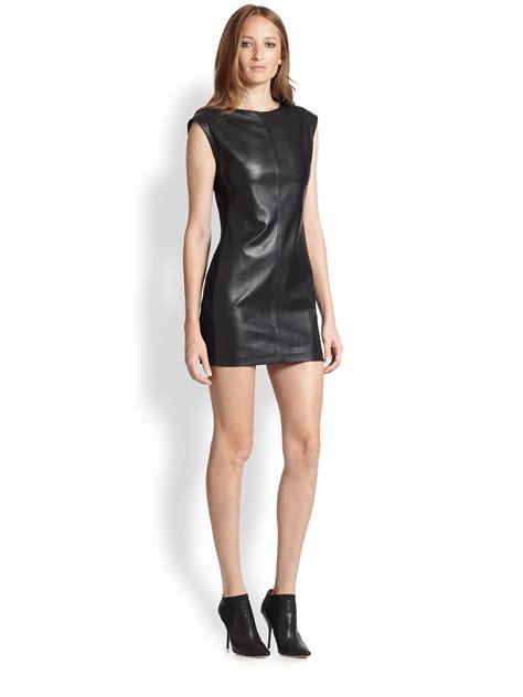 Mini Leather Dress lyst bcbgmaxazria karlee faux leather mini dress in black