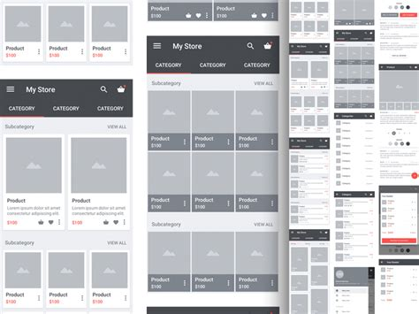 Carbon Material Wireframe Kit Sketch Freebie Uxfree Com Sketch Ui Templates