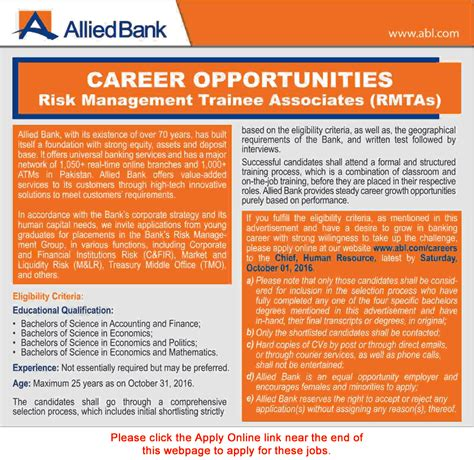 Management Associates Program Mba by Risk Management Trainee Associates In Allied Bank