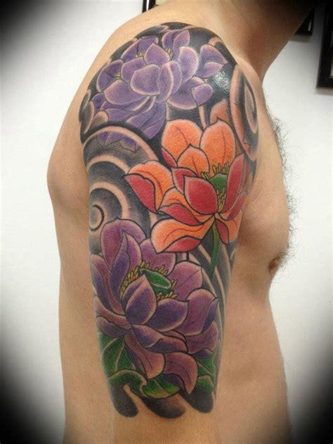 lotus flower tattoo upper arm beautiful colorful lotus flower tattoo for men on upper