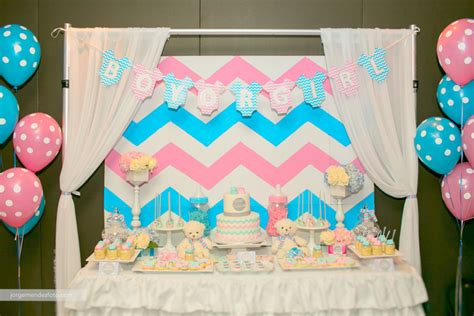 Baby Shower Gender Reveal Themes by Chevron Themed Gender Reveal Baby Shower Project Nursery