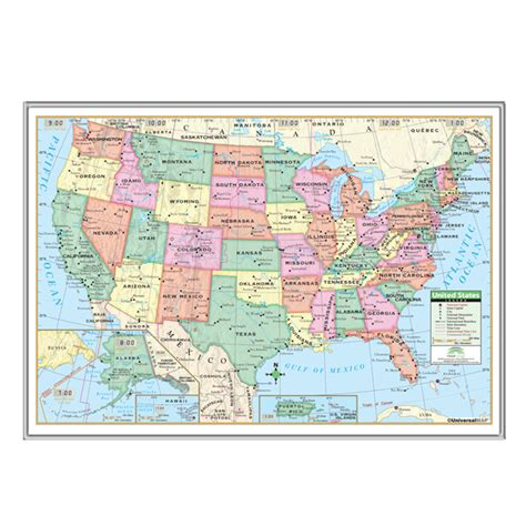 map usa framed united state wall roller maps us primary framed wall