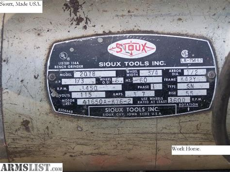 sioux bench grinder object moved