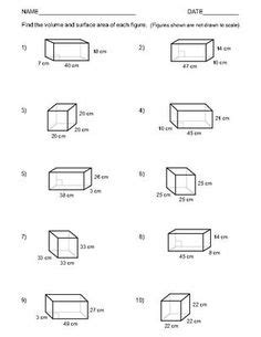 Surface Area Of Prisms Worksheet 7th Grade