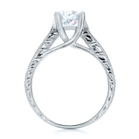 and engraved engagement ring with matching