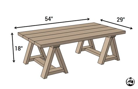 diy table with sawhorse legs sawhorse coffee table free diy plans rogue engineer