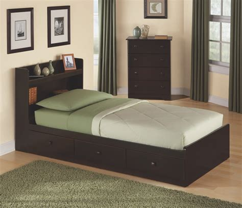 twin size storage bed with headboard in walnut 316 301