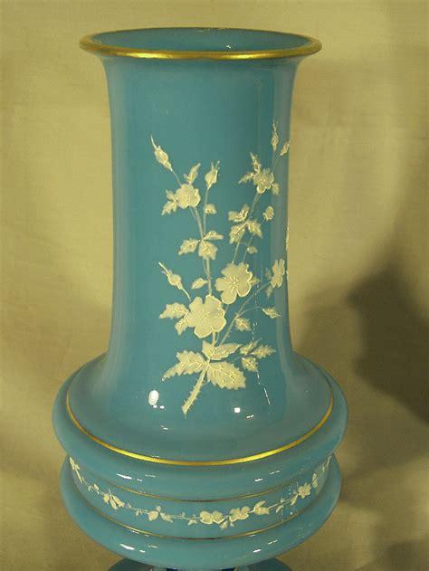 Antique Bristol Blue Glass Vase by 7889 Pair Blue Bristol Glass Vases C1880 For Sale