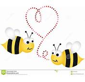 Two Cute Bees In Love Stock Vector Illustration Of