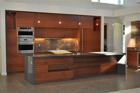 sapele cabinets and quartz countertops