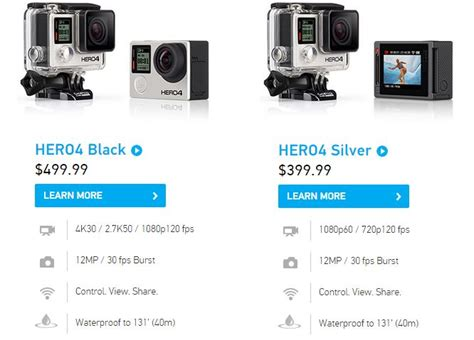 gopro price comparison gopro 4 black serves up the performance touch