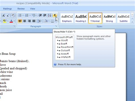 word hide layout characters show or hide nonprinting characters in word 2007 dummies