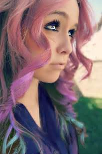 bright colored hair swirling rainbow waves with edge hairstyle with bright