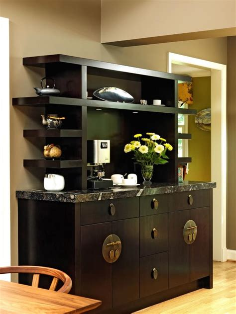 asian inspired black coffee bar  open shelves hgtv