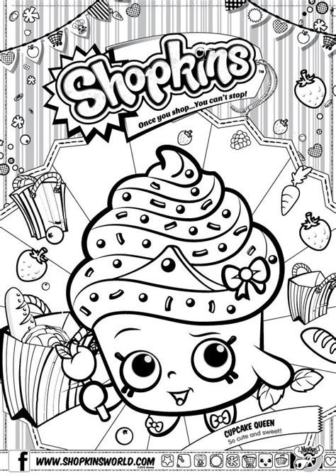 shopkins birthday coloring page 103269m r01s02 spks1 a4 colour in cupcake jpg 595 215 842