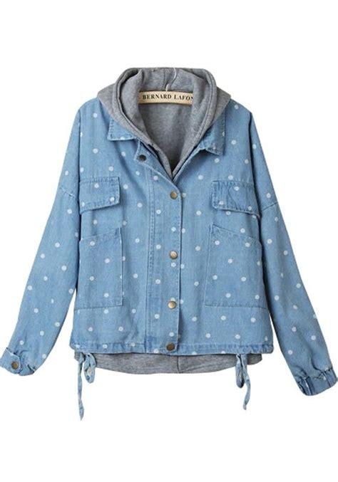 Denim Padded Coat blue hooded drawstring two pieces denim padded coat