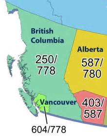 area codes in canada