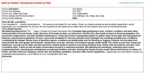 Forest Worker Cover Letter by Forest Technician Cover Letter Sle