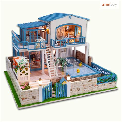 pool house kits a23 big wood doll house 2 floors w swimming pool garden house diy kits for family jpg