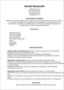 Summary Of Qualifications Accounting by Description Clerk Resume