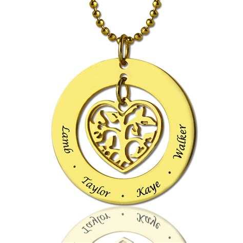 circle family tree pendant necklace in gold
