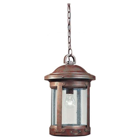 Sea Gull Lighting Herrington 1 Light Black Outdoor Hanging Outdoor Light Fixtures Home Depot