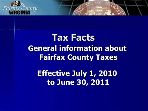 Fairfax County Property Records Fairfax County Tax Facts