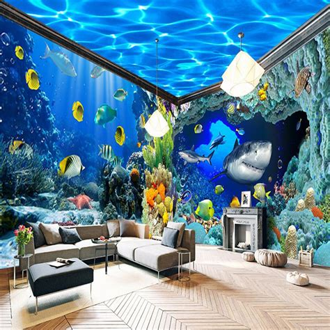 aquarium themed bedroom compare prices on aquarium wall paper online shopping buy