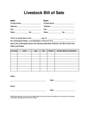 Livestock Bill Of Sale Forms And Templates Fillable Printable Sles For Pdf Word Pdffiller Animal Bill Of Sale Template