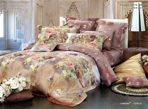 brown khaki floral satin egyptian cotton comforter bedding