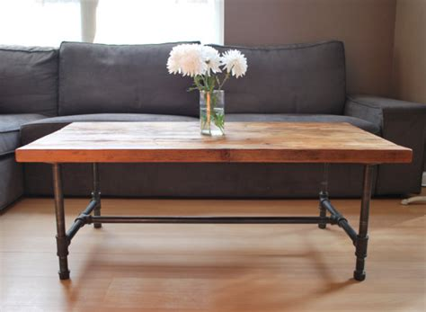 Items Similar To Wood Coffee Table With Steel Pipe Legs Pipe Leg Coffee Table