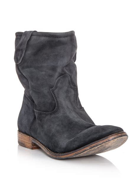 marant suede boots in gray charcoal lyst