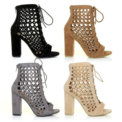 block heel high heels caged block heel peep toe lace up high heels ankle