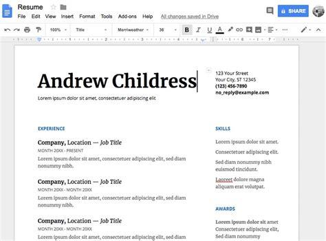 google template resume download google docs resume template