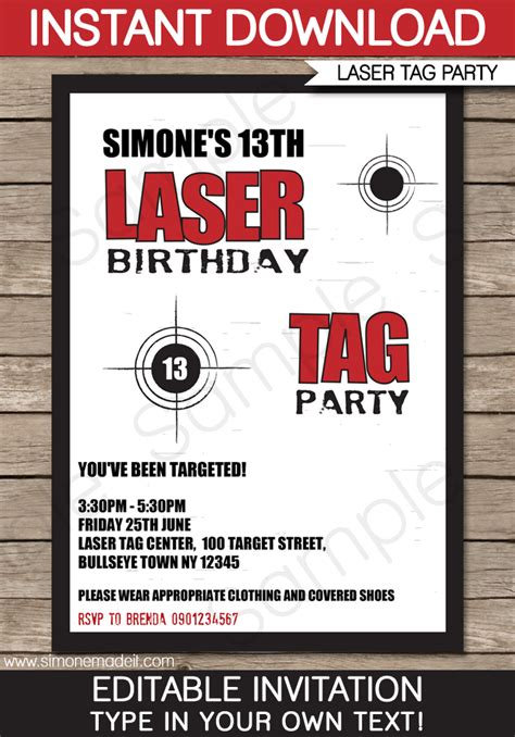 laser tag party invitations birthday party
