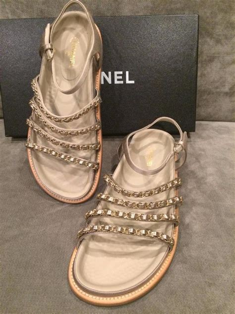 Sandal Chanel Chain Flat Beige Won chanel beige 15p chain embellished strappy satin flat sandals size us 11 tradesy