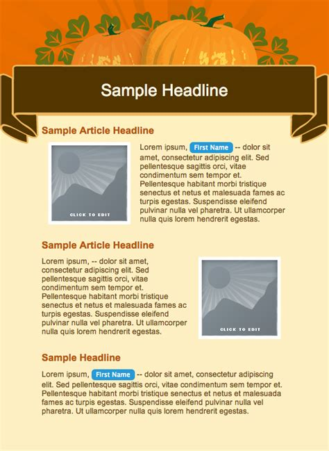 fall newsletter templates free