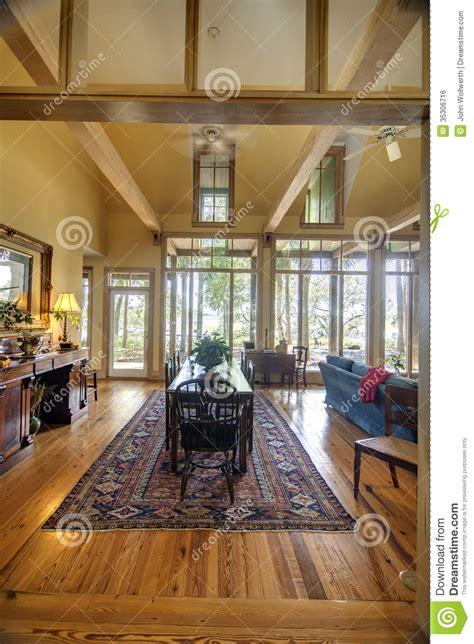 modern diningroom  view windows royalty  stock