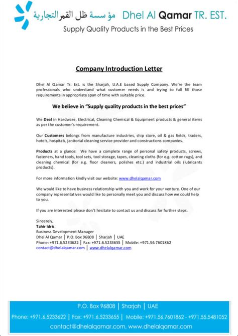Introduction Letter For General Trading Company 10 company introduction letter sles templates free
