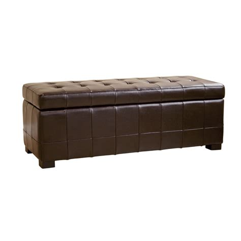 brown leather ottoman storage wholesale interiors bicast leather storage ottoman brown y