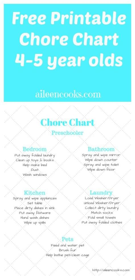6 best images of 5 year old chore chart 3 year old chore chore charts charts and free printable on pinterest