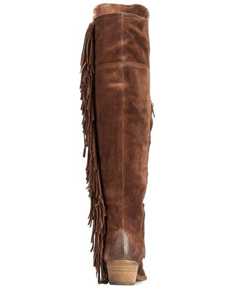 brown fringe boots monkey frilly fanta the knee fringe boots in