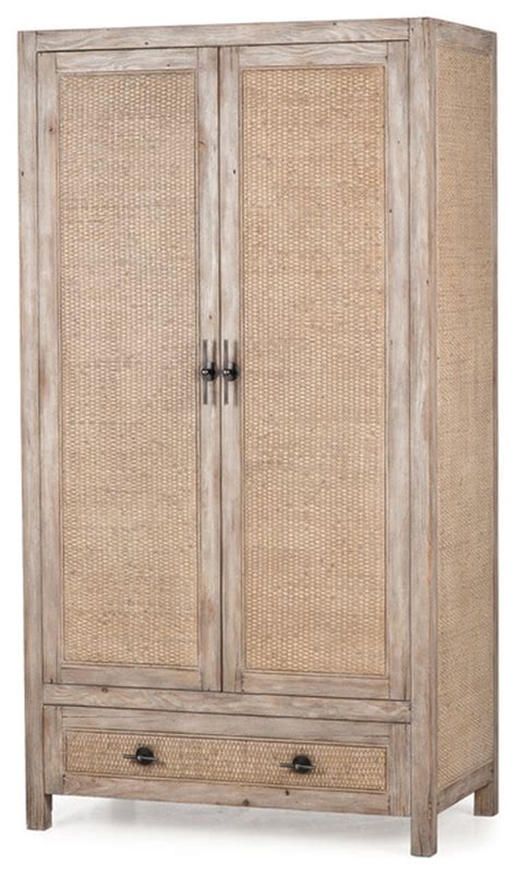lydia country rattan distressed wood cabinet