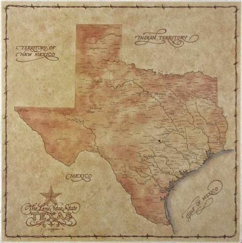 vintage texas map antique style texas map ebay