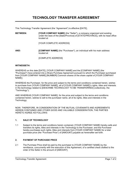 Technology Transfer Agreement Template Sle Form Biztree Com Transfer Agreement Template