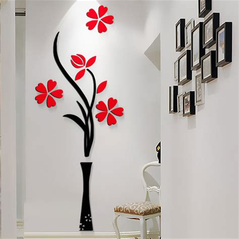 wall desing new beautiful design red the plum flower vase acrylic art